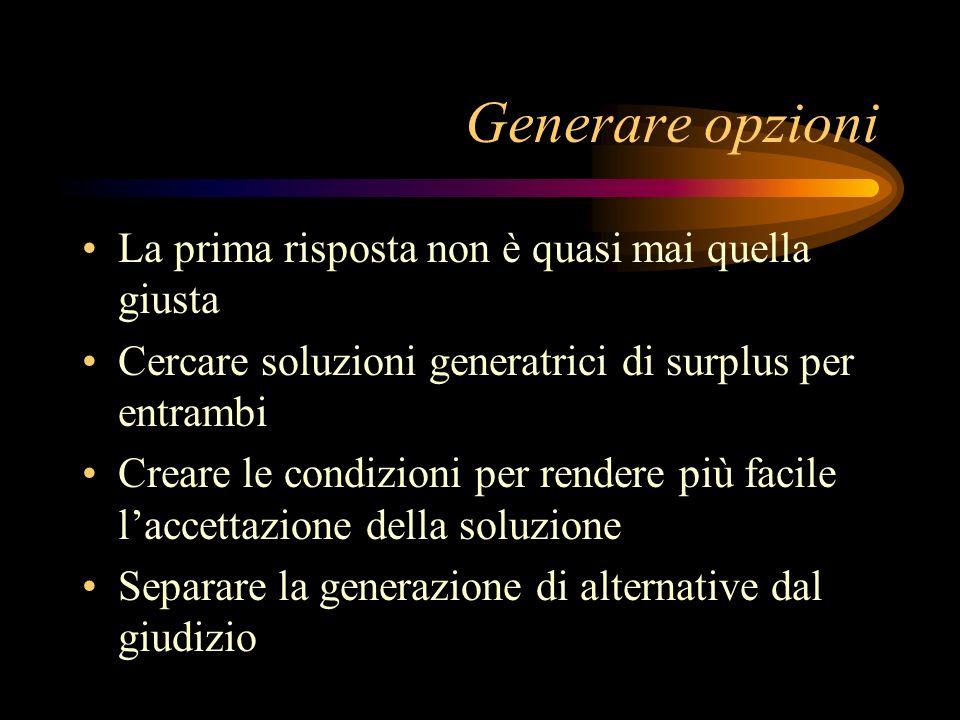 Generare opzioni La prima risposta non è quasi mai quella giusta Cercare soluzioni generatrici di surplus per entrambi Creare le condizioni per render