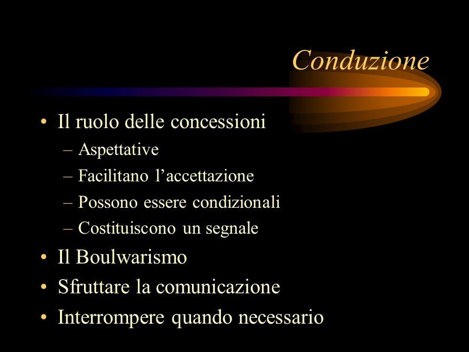 Conduzione Il ruolo delle concessioni –Aspettative –Facilitano laccettazione –Possono essere condizionali –Costituiscono un segnale Il Boulwarismo Sfr