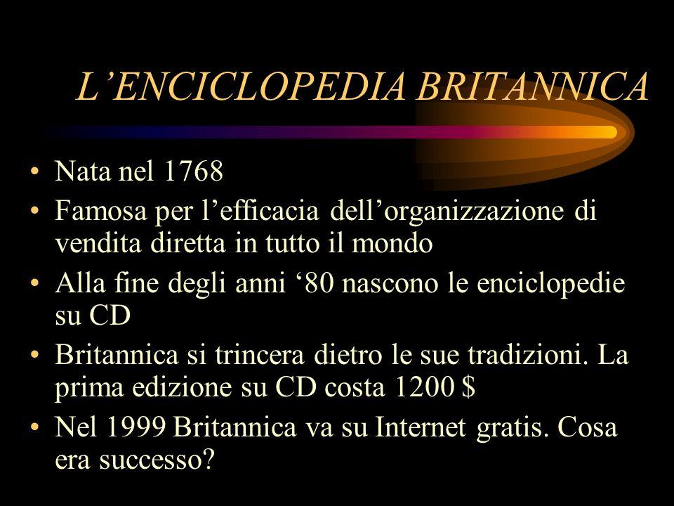 LENCICLOPEDIA BRITANNICA Nata nel 1768 Famosa per lefficacia dellorganizzazione di vendita diretta in tutto il mondo Alla fine degli anni 80 nascono l
