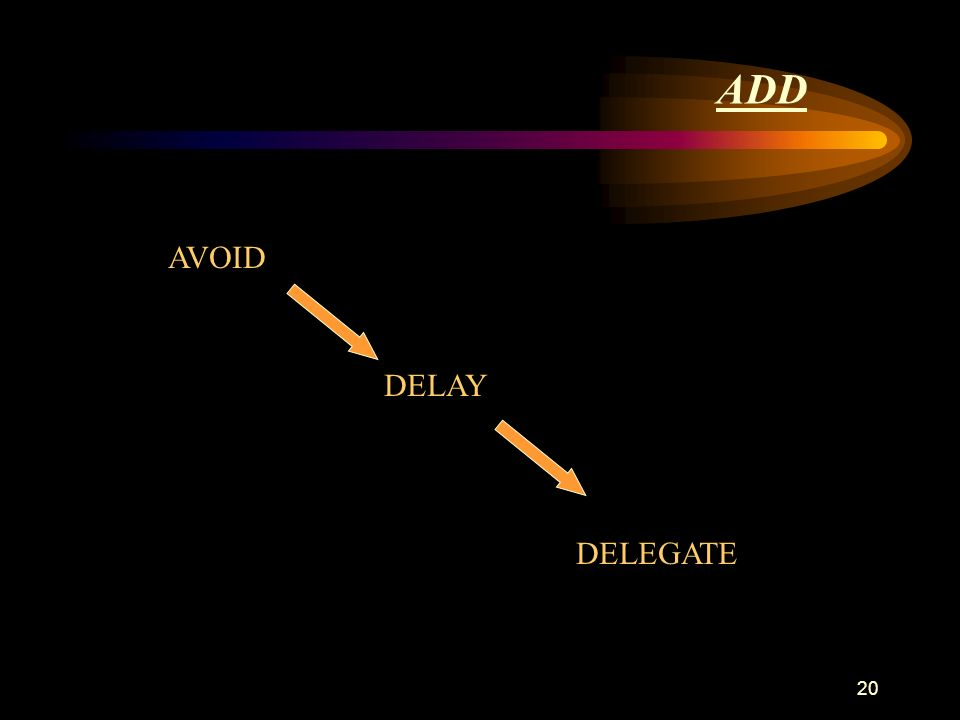 20 ADD AVOID DELEGATE DELAY