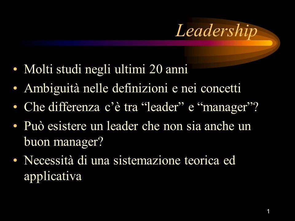 1 Leadership Molti studi negli ultimi 20 anni Ambiguità nelle definizioni e nei concetti Che differenza cè tra leader e manager? Può esistere un leade