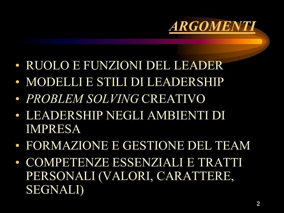 2 ARGOMENTI RUOLO E FUNZIONI DEL LEADER MODELLI E STILI DI LEADERSHIP PROBLEM SOLVING CREATIVO LEADERSHIP NEGLI AMBIENTI DI IMPRESA FORMAZIONE E GESTI