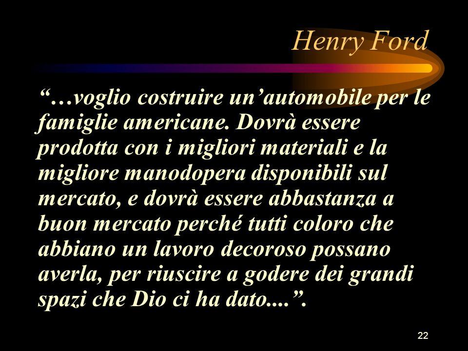 22 Henry Ford …voglio costruire unautomobile per le famiglie americane. Dovrà essere prodotta con i migliori materiali e la migliore manodopera dispon