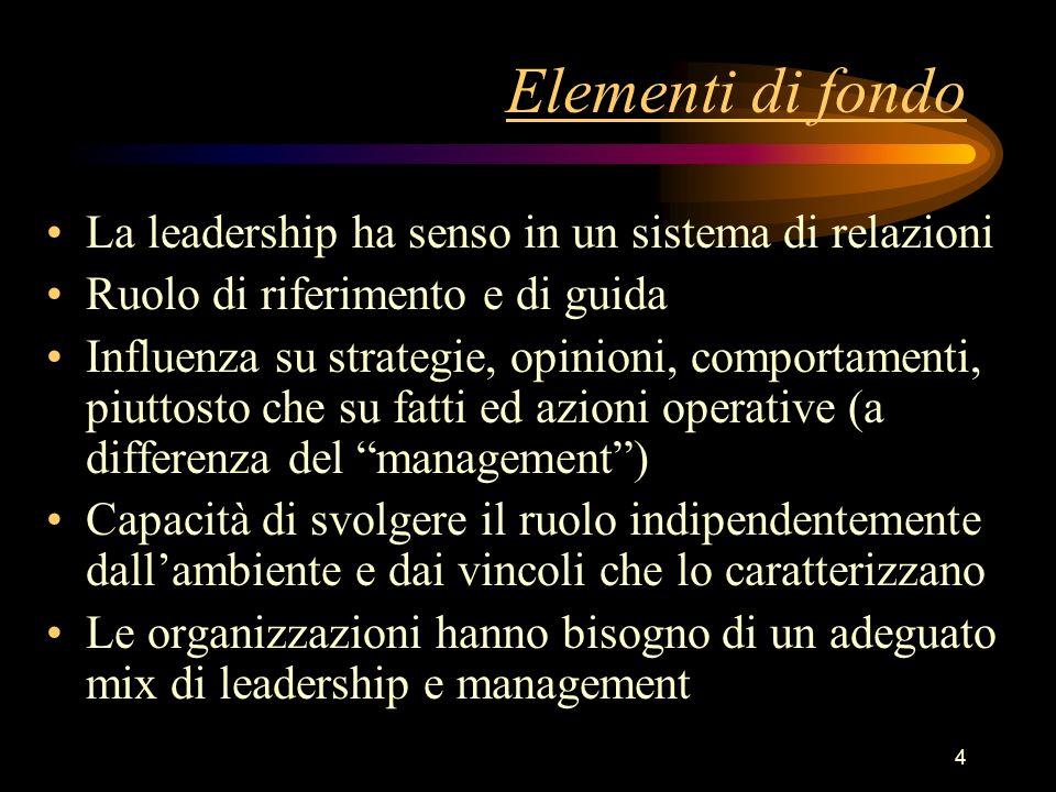 4 Elementi di fondo La leadership ha senso in un sistema di relazioni Ruolo di riferimento e di guida Influenza su strategie, opinioni, comportamenti,
