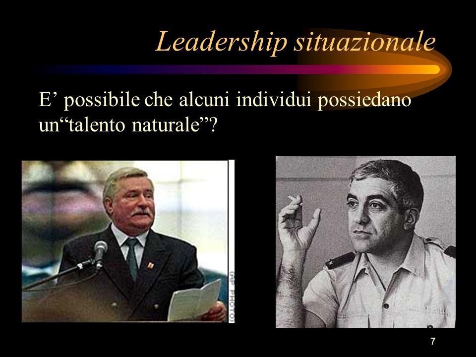7 Leadership situazionale E possibile che alcuni individui possiedano untalento naturale?