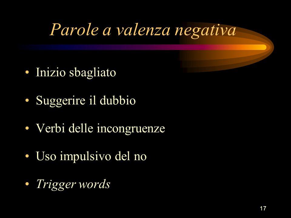 17 Parole a valenza negativa Inizio sbagliato Suggerire il dubbio Verbi delle incongruenze Uso impulsivo del no Trigger words