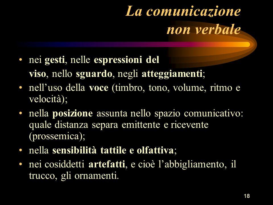 18 La comunicazione non verbale nei gesti, nelle espressioni del viso, nello sguardo, negli atteggiamenti; nelluso della voce (timbro, tono, volume, r