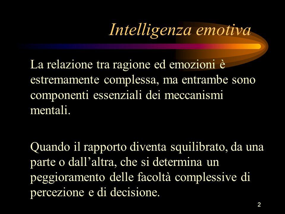 2 Intelligenza emotiva La relazione tra ragione ed emozioni è estremamente complessa, ma entrambe sono componenti essenziali dei meccanismi mentali. Q