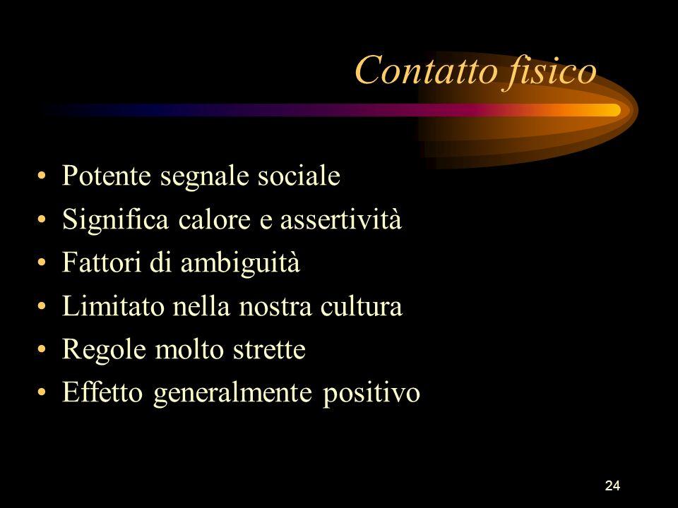 24 Contatto fisico Potente segnale sociale Significa calore e assertività Fattori di ambiguità Limitato nella nostra cultura Regole molto strette Effe
