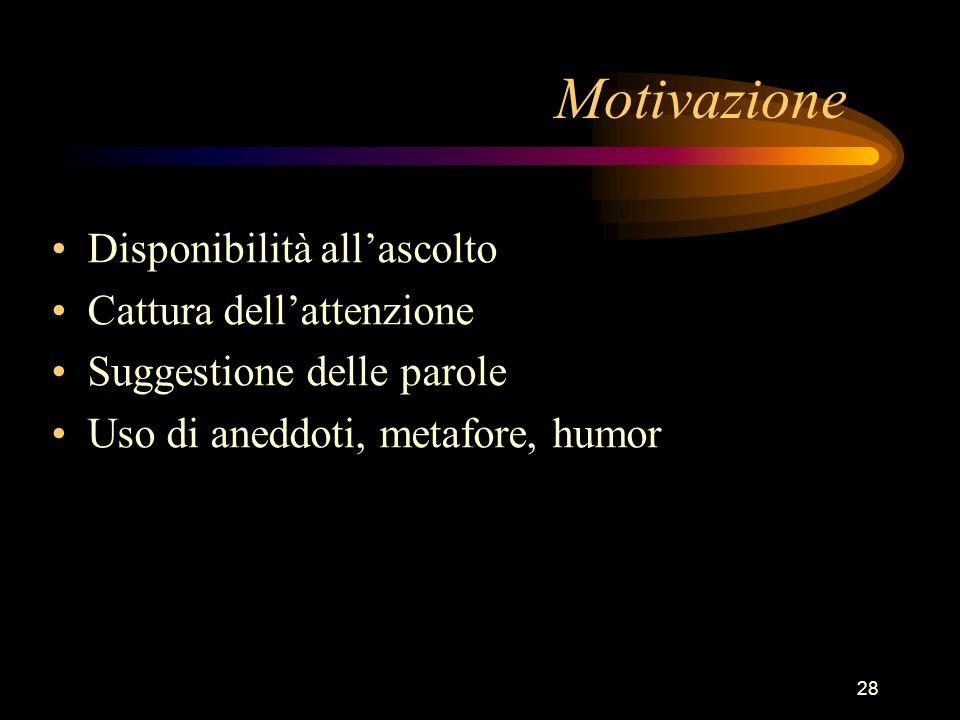 28 Motivazione Disponibilità allascolto Cattura dellattenzione Suggestione delle parole Uso di aneddoti, metafore, humor