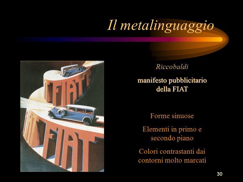30 Il metalinguaggio Riccobaldi manifesto pubblicitario della FIAT Forme sinuose Elementi in primo e secondo piano Colori contrastanti dai contorni mo
