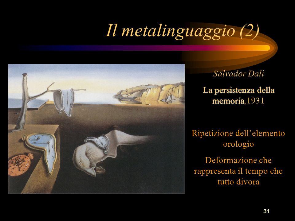 31 Il metalinguaggio (2) Salvador Dalì La persistenza della memoria La persistenza della memoria,1931 Ripetizione dellelemento orologio Deformazione c