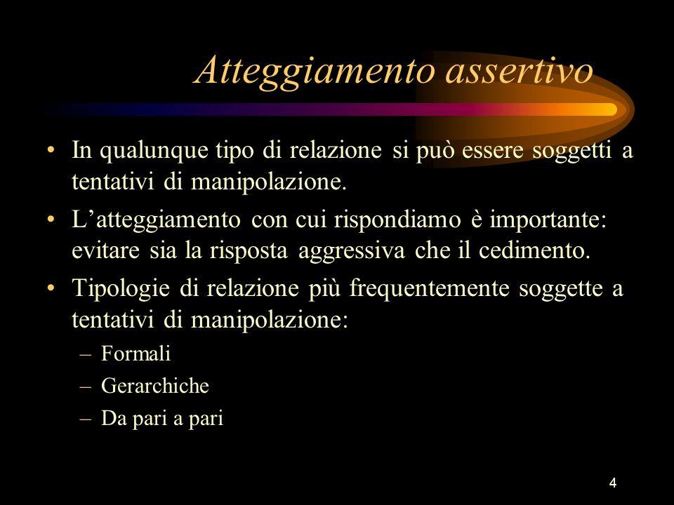 4 Atteggiamento assertivo In qualunque tipo di relazione si può essere soggetti a tentativi di manipolazione. Latteggiamento con cui rispondiamo è imp