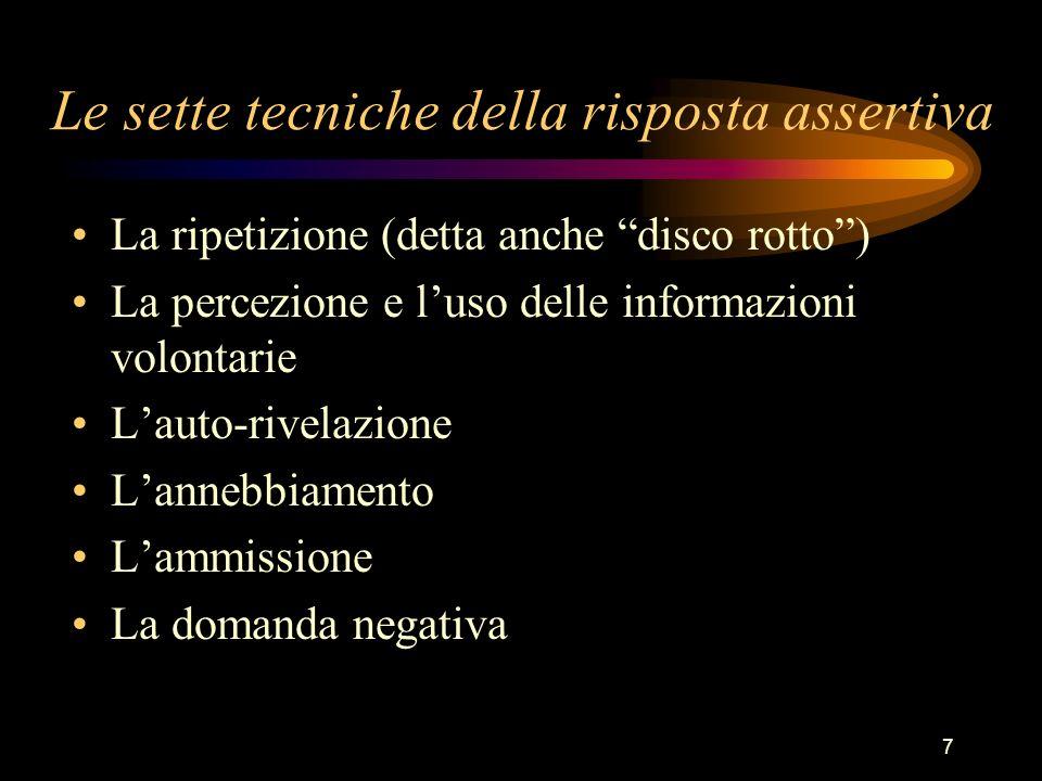 7 Le sette tecniche della risposta assertiva La ripetizione (detta anche disco rotto) La percezione e luso delle informazioni volontarie Lauto-rivelaz