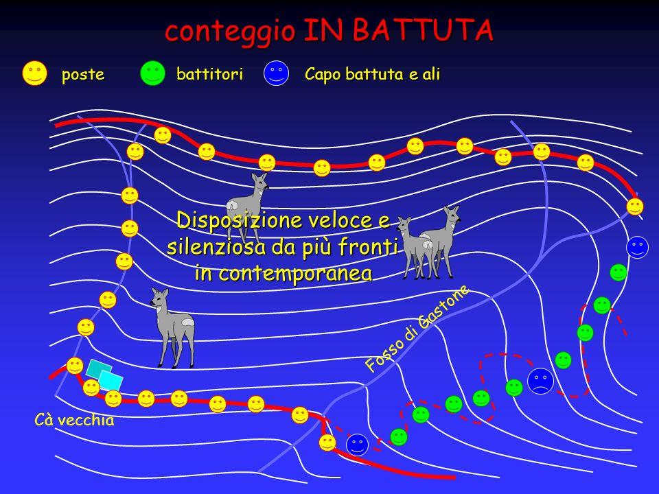 conteggio IN BATTUTA Fosso di Gastone Cà vecchia postebattitori Capo battuta e ali Disposizione veloce e silenziosa da più fronti in contemporanea