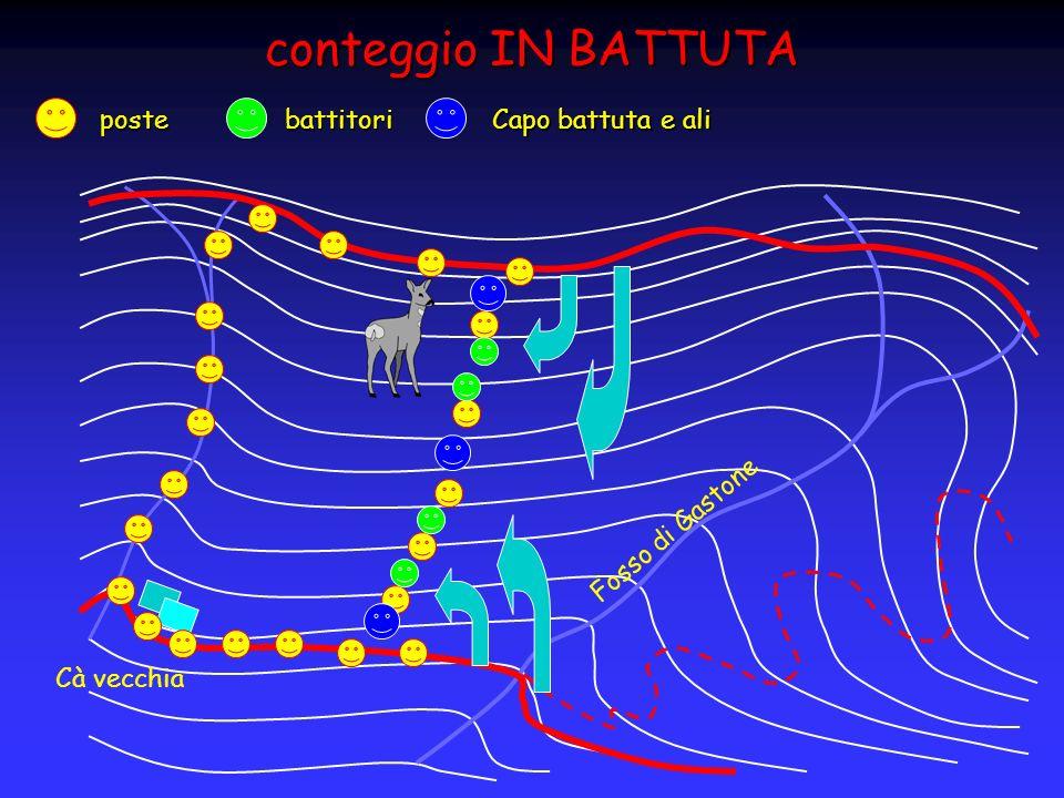 conteggio IN BATTUTA Fosso di Gastone Cà vecchia postebattitori Capo battuta e ali
