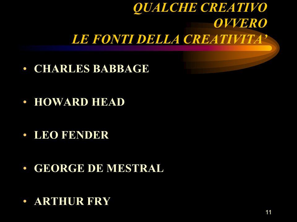 11 QUALCHE CREATIVO OVVERO LE FONTI DELLA CREATIVITA CHARLES BABBAGE HOWARD HEAD LEO FENDER GEORGE DE MESTRAL ARTHUR FRY