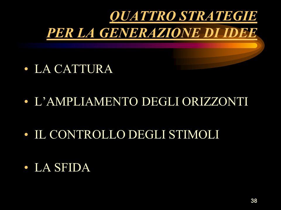 38 QUATTRO STRATEGIE PER LA GENERAZIONE DI IDEE LA CATTURA LAMPLIAMENTO DEGLI ORIZZONTI IL CONTROLLO DEGLI STIMOLI LA SFIDA