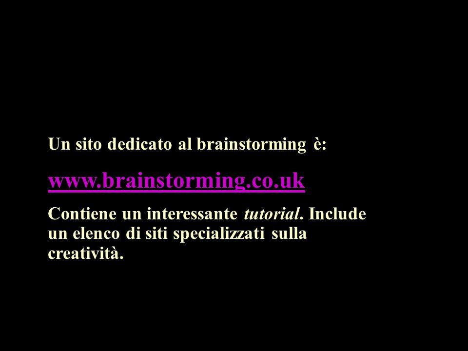 Un sito dedicato al brainstorming è: www.brainstorming.co.uk Contiene un interessante tutorial.