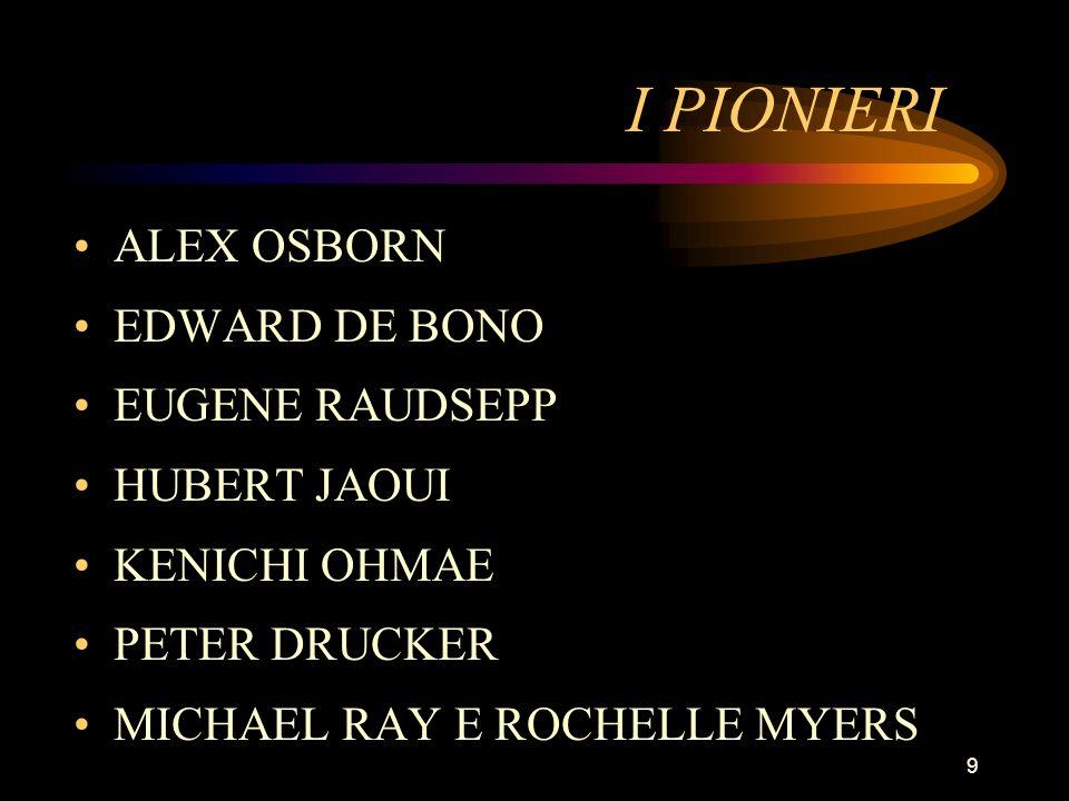 9 I PIONIERI ALEX OSBORN EDWARD DE BONO EUGENE RAUDSEPP HUBERT JAOUI KENICHI OHMAE PETER DRUCKER MICHAEL RAY E ROCHELLE MYERS