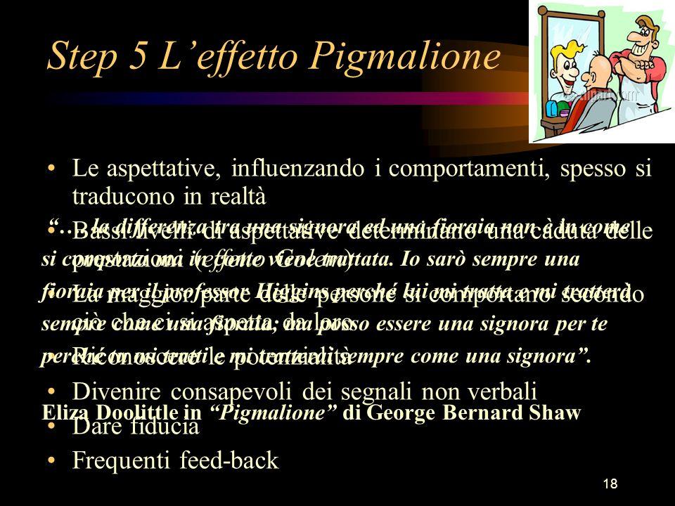18 Step 5 Leffetto Pigmalione Le aspettative, influenzando i comportamenti, spesso si traducono in realtà Bassi livelli di aspettative determinano una