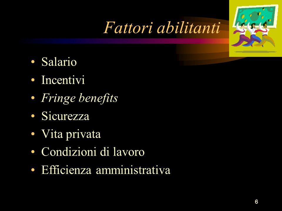6 Fattori abilitanti Salario Incentivi Fringe benefits Sicurezza Vita privata Condizioni di lavoro Efficienza amministrativa