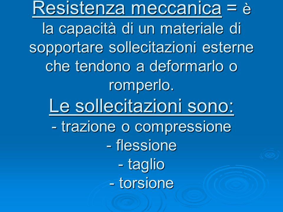 Resistenza meccanica = è la capacità di un materiale di sopportare sollecitazioni esterne che tendono a deformarlo o romperlo. Le sollecitazioni sono: