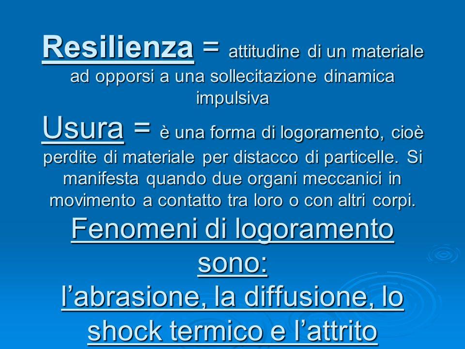 Resilienza = attitudine di un materiale ad opporsi a una sollecitazione dinamica impulsiva Usura = è una forma di logoramento, cioè perdite di materia