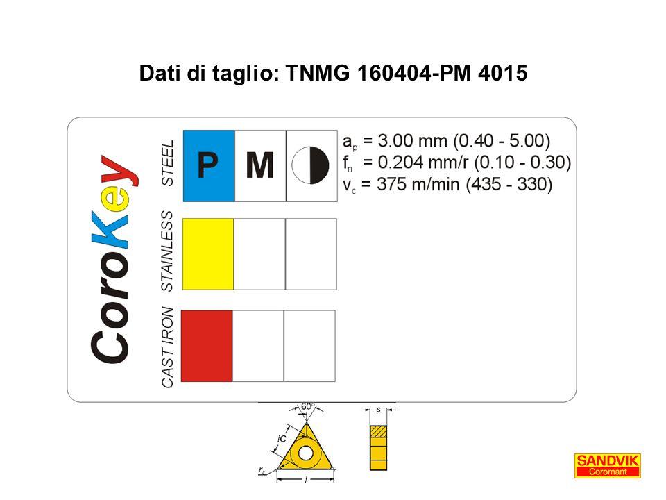 Dati di taglio: TNMG 160404-PM 4015