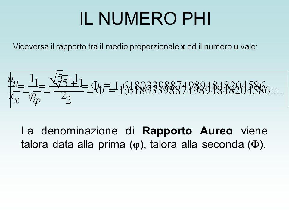 IL NUMERO PHI La denominazione di Rapporto Aureo viene talora data alla prima ( ), talora alla seconda ( ). Viceversa il rapporto tra il medio proporz