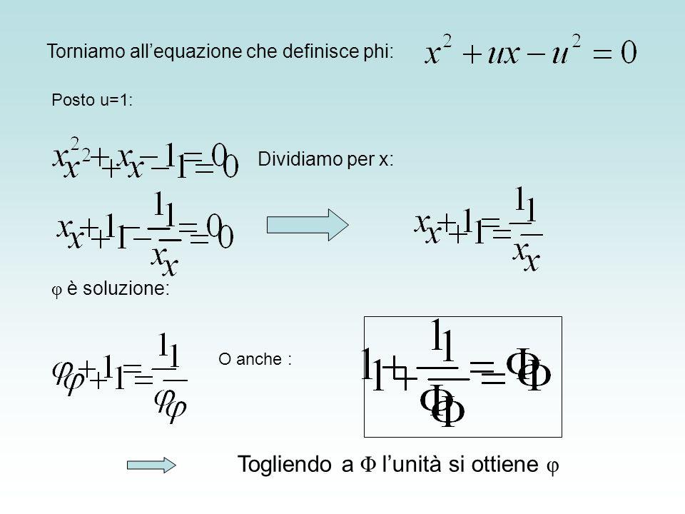 Torniamo allequazione che definisce phi: Posto u=1: Dividiamo per x: φ è soluzione: O anche : Togliendo a Φ lunità si ottiene φ
