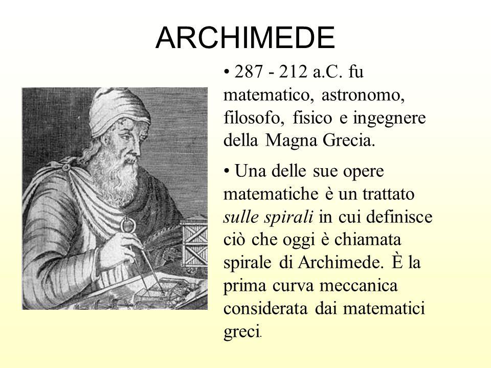 ARCHIMEDE 287 - 212 a.C. fu matematico, astronomo, filosofo, fisico e ingegnere della Magna Grecia. Una delle sue opere matematiche è un trattato sull