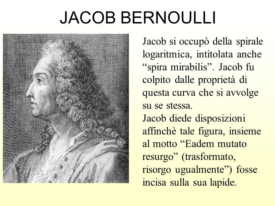 JACOB BERNOULLI Jacob si occupò della spirale logaritmica, intitolata anche spira mirabilis. Jacob fu colpito dalle proprietà di questa curva che si a
