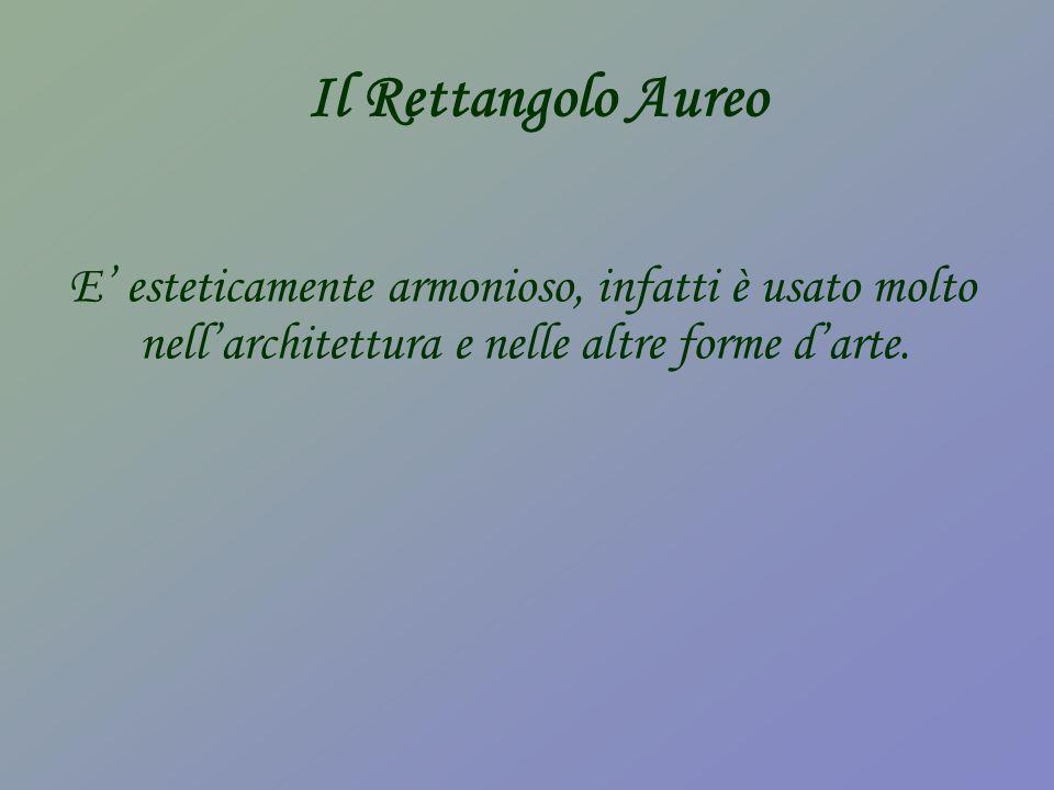 Il Rettangolo Aureo E esteticamente armonioso, infatti è usato molto nellarchitettura e nelle altre forme darte.