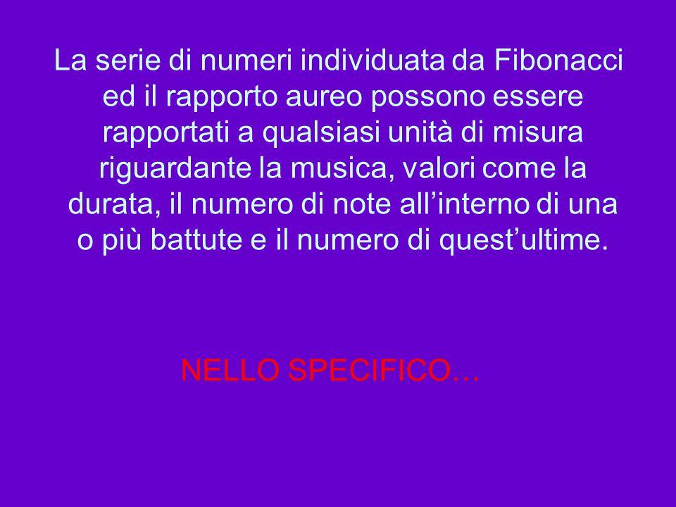 La serie di numeri individuata da Fibonacci ed il rapporto aureo possono essere rapportati a qualsiasi unità di misura riguardante la musica, valori c