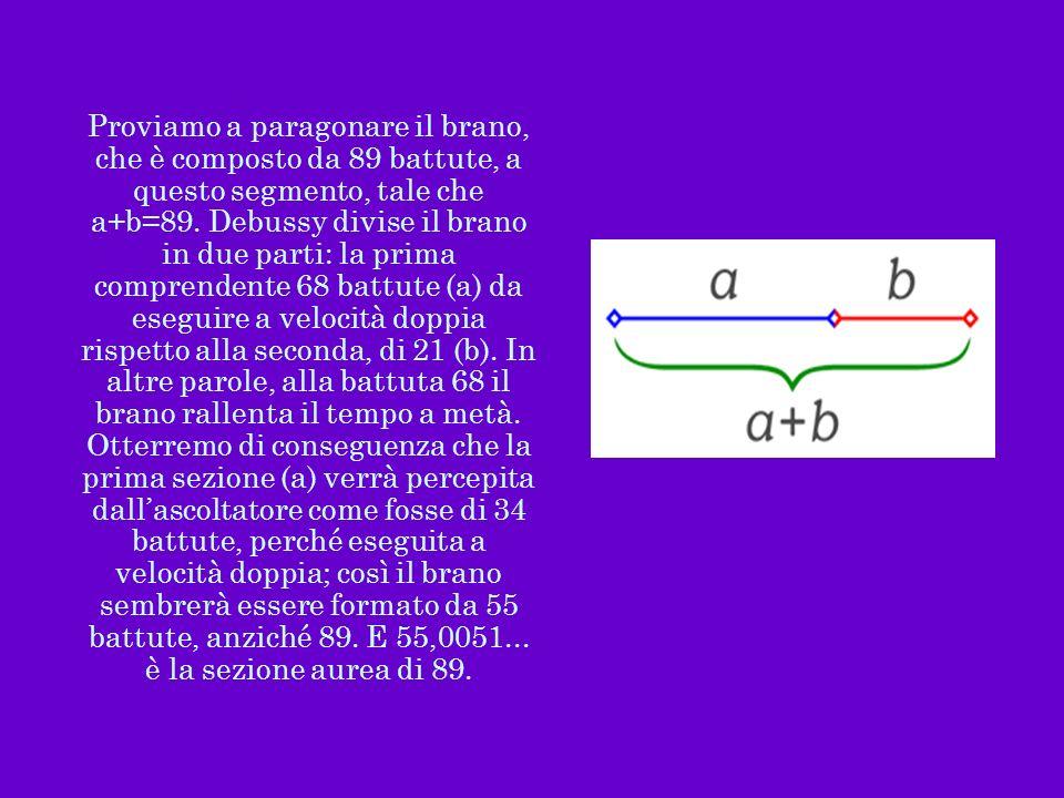 Proviamo a paragonare il brano, che è composto da 89 battute, a questo segmento, tale che a+b=89. Debussy divise il brano in due parti: la prima compr
