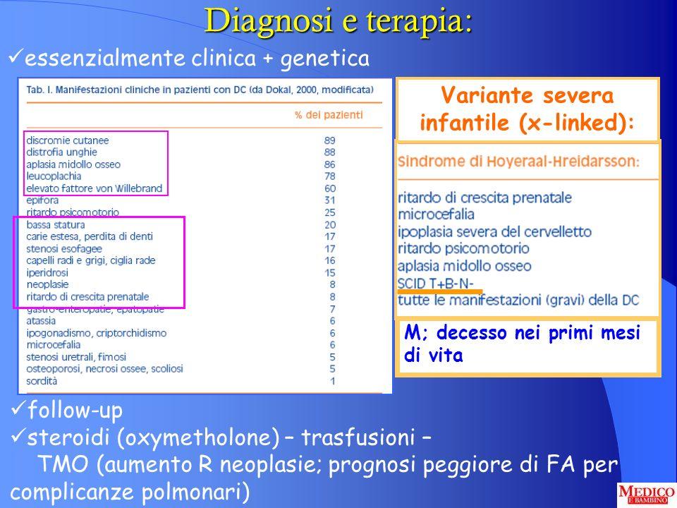 Diagnosi e terapia: essenzialmente clinica + genetica follow-up steroidi (oxymetholone) – trasfusioni – TMO (aumento R neoplasie; prognosi peggiore di