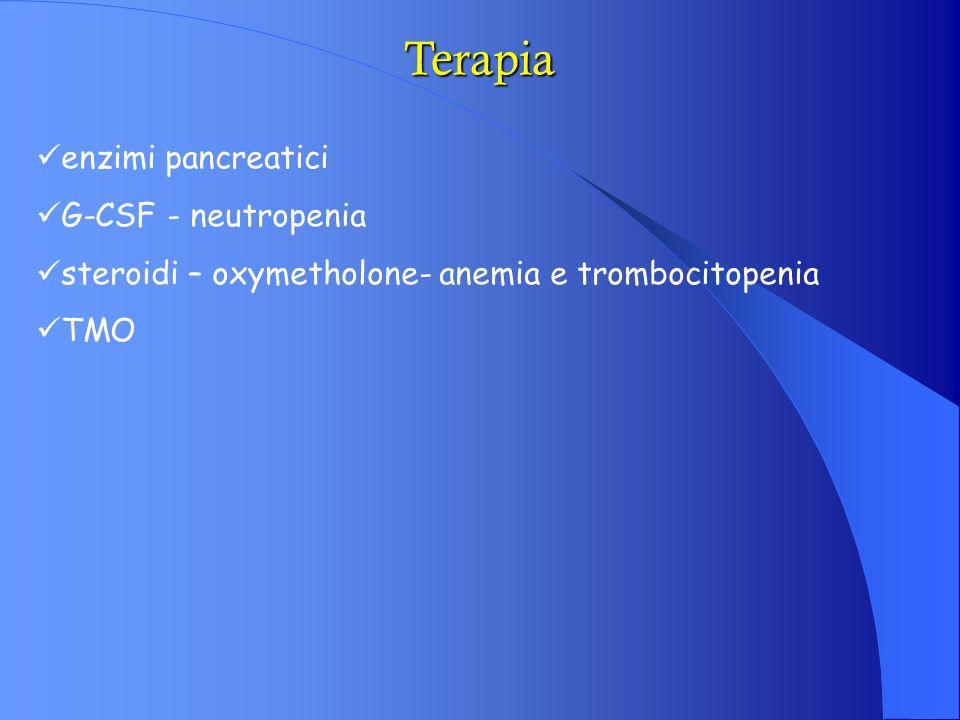 Terapia enzimi pancreatici G-CSF - neutropenia steroidi – oxymetholone- anemia e trombocitopenia TMO