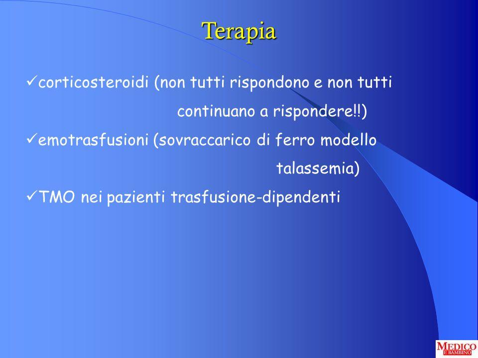 Terapia corticosteroidi (non tutti rispondono e non tutti continuano a rispondere!!) emotrasfusioni (sovraccarico di ferro modello talassemia) TMO nei