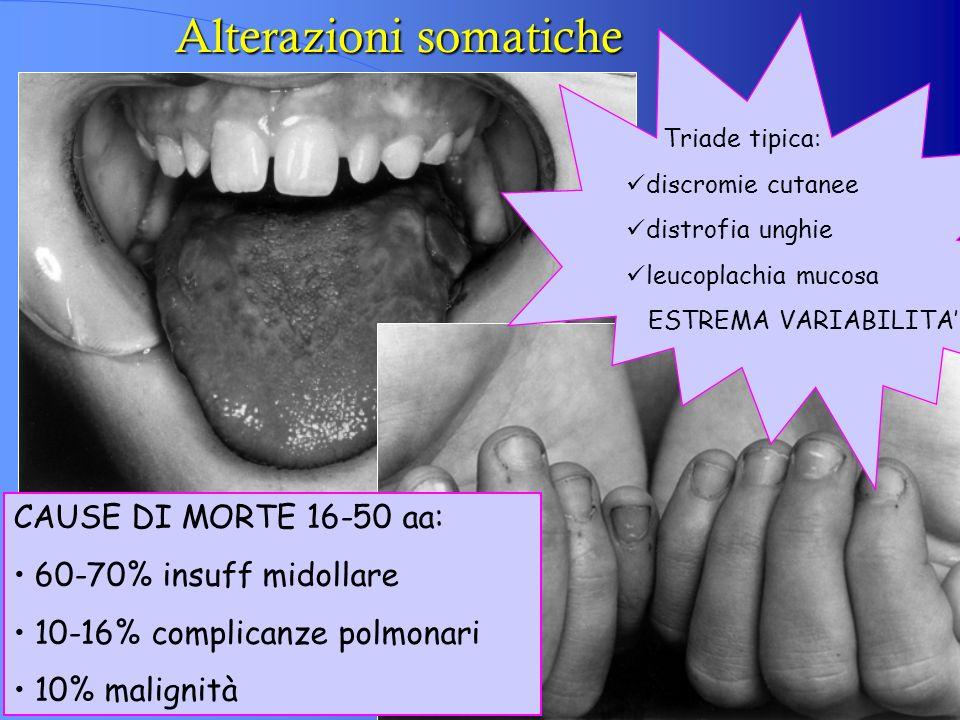 Alterazioni somatiche Triade tipica: discromie cutanee distrofia unghie leucoplachia mucosa ESTREMA VARIABILITA CAUSE DI MORTE 16-50 aa: 60-70% insuff