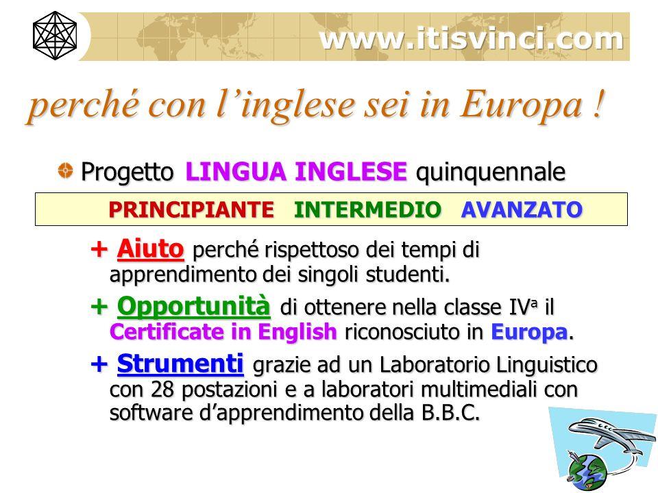 Progetto LINGUA INGLESE quinquennale PRINCIPIANTE INTERMEDIO AVANZATO + Aiuto perché rispettoso dei tempi di apprendimento dei singoli studenti.