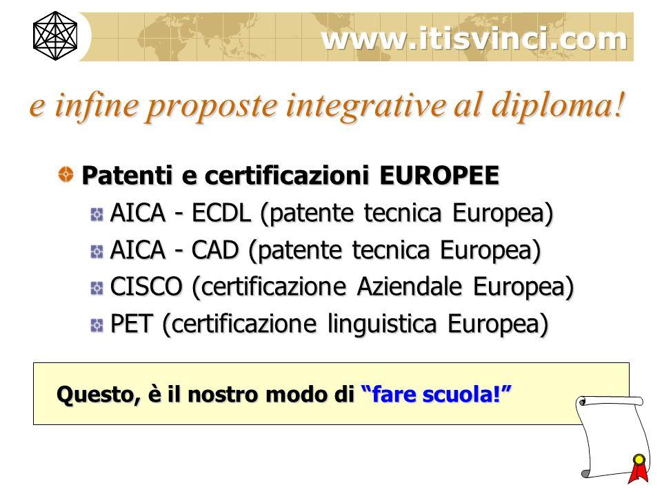e infine proposte integrative al diploma.