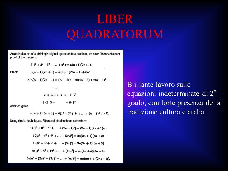 LIBER QUADRATORUM Brillante lavoro sulle equazioni indeterminate di 2° grado, con forte presenza della tradizione culturale araba.