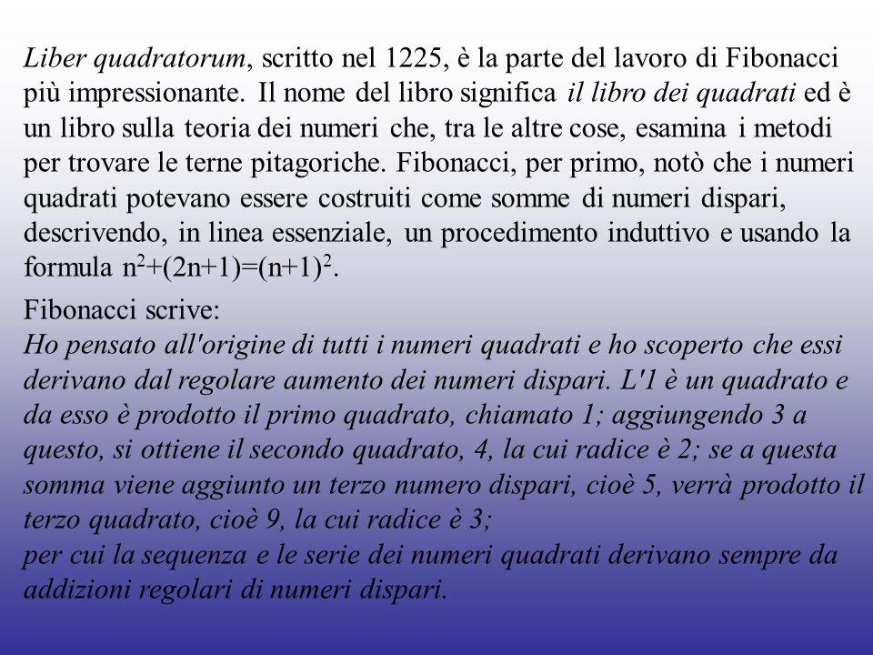 Liber quadratorum, scritto nel 1225, è la parte del lavoro di Fibonacci più impressionante. Il nome del libro significa il libro dei quadrati ed è un