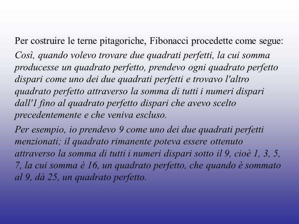 Per costruire le terne pitagoriche, Fibonacci procedette come segue: Così, quando volevo trovare due quadrati perfetti, la cui somma producesse un qua