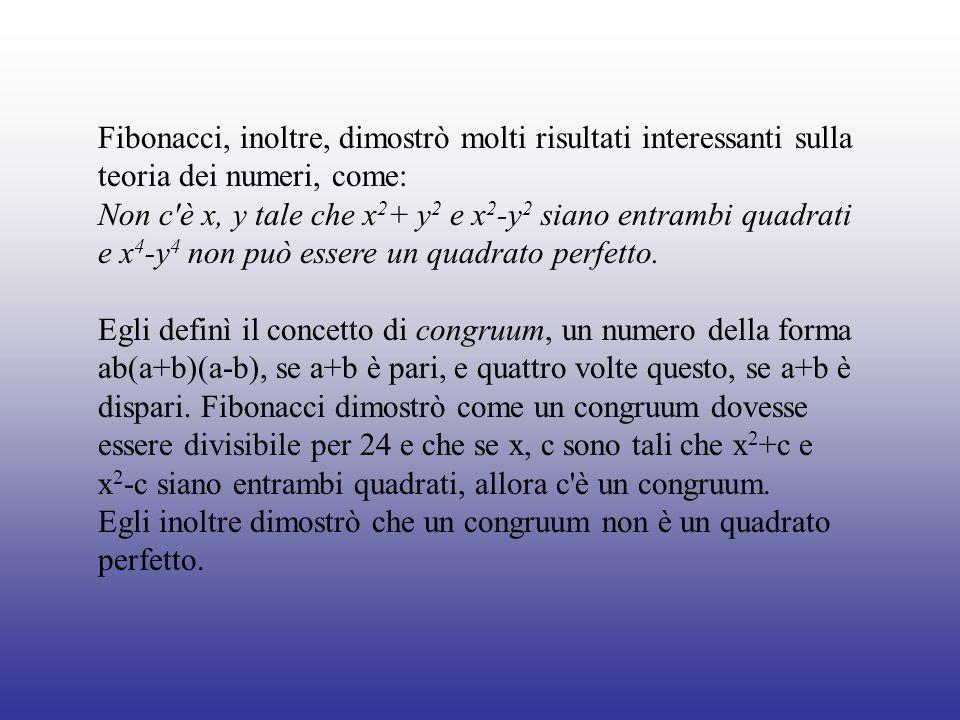 Fibonacci, inoltre, dimostrò molti risultati interessanti sulla teoria dei numeri, come: Non c'è x, y tale che x 2 + y 2 e x 2 -y 2 siano entrambi qua