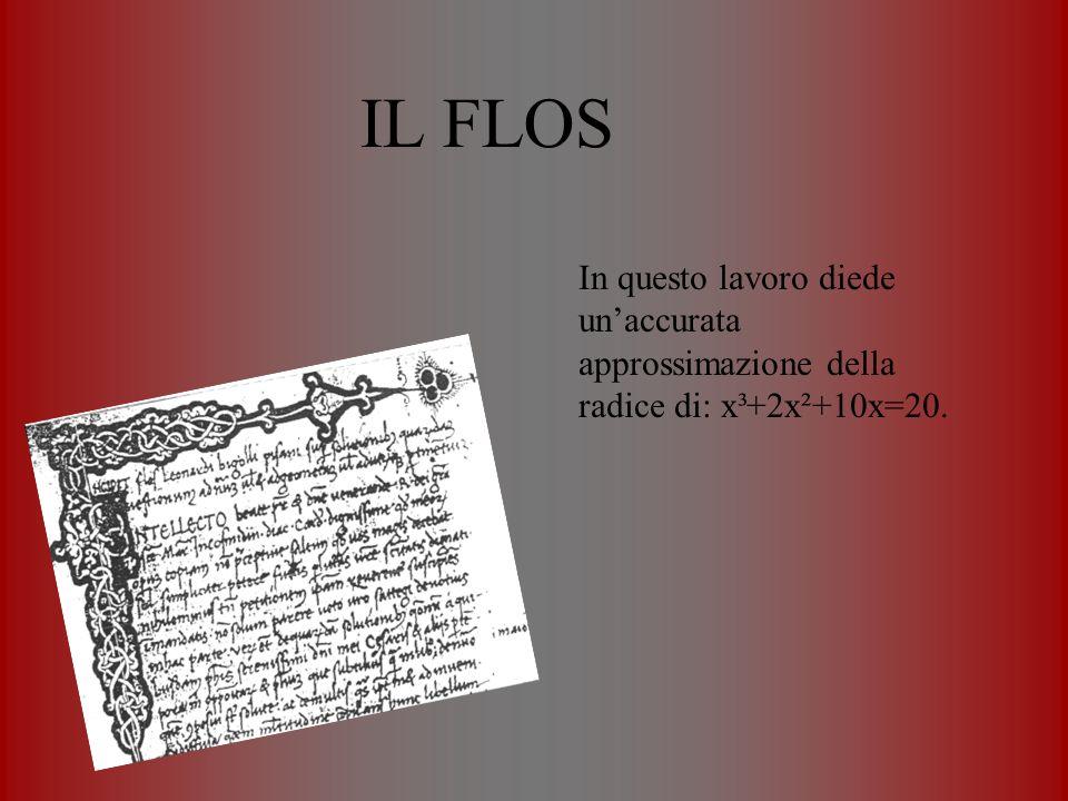 IL FLOS In questo lavoro diede unaccurata approssimazione della radice di: x³+2x²+10x=20.