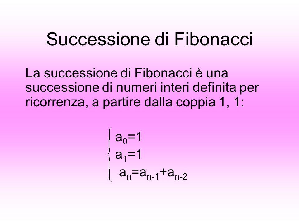 Successione di Fibonacci La successione di Fibonacci è una successione di numeri interi definita per ricorrenza, a partire dalla coppia 1, 1: a 0 =1 a