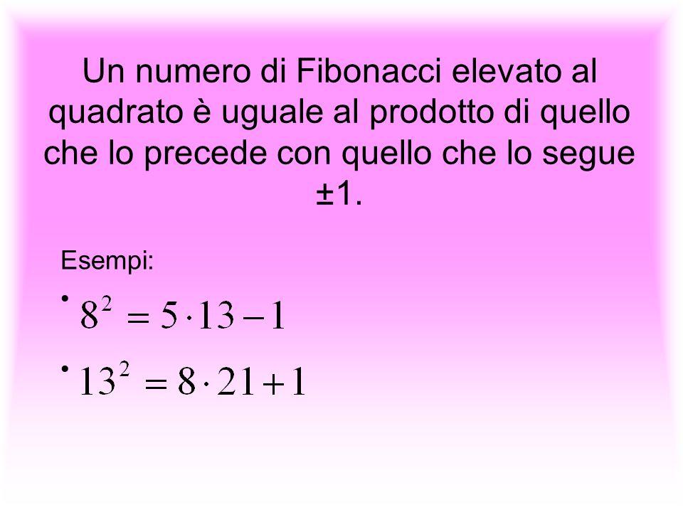 Un numero di Fibonacci elevato al quadrato è uguale al prodotto di quello che lo precede con quello che lo segue ±1. Esempi: