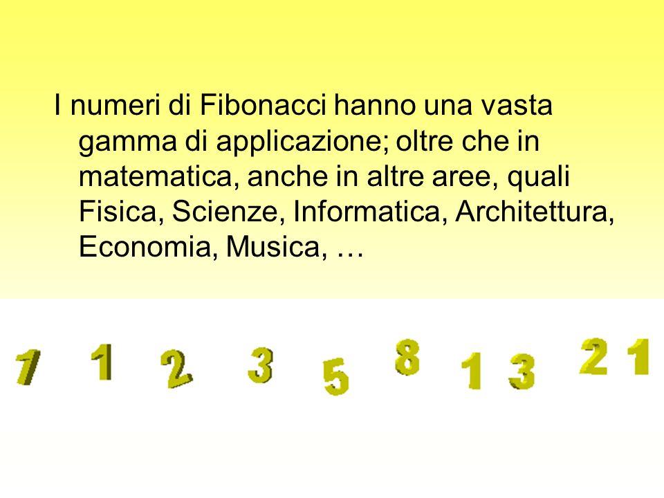 I numeri di Fibonacci hanno una vasta gamma di applicazione; oltre che in matematica, anche in altre aree, quali Fisica, Scienze, Informatica, Archite